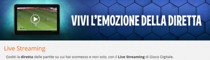Lo streaming di Gioco Digitale, tanti eventi sportivi e scommesse live