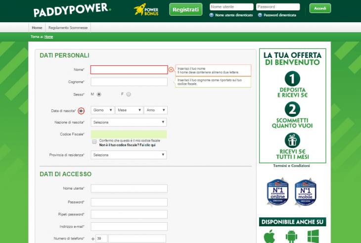 Bonus benvenuto Paddy Power: tutte le informazioni di cui hai bisogno