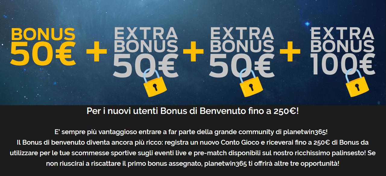La nuova offerta di Planetwin365. Bonus di benvenuto di 250€