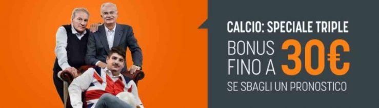 Bonus SNAI Speciale Triple: rimborso del 50% fino a 30€