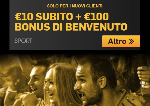 Bonus benvenuto Betfair, 10€ subito + fino a 100€